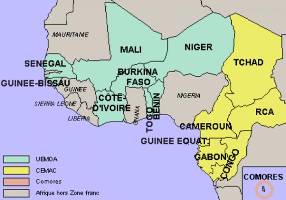 les pays de la zone franc CFA, ph. capital.fr