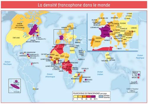 La densité des pays francophones dans le monde, ph. francophonie.org