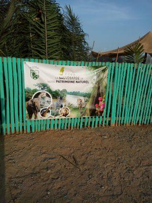 Affiche sur la clôture du mini zoo au SITA 2018